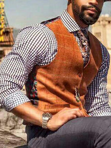 Fashion Printed Pockets V Neck Vest