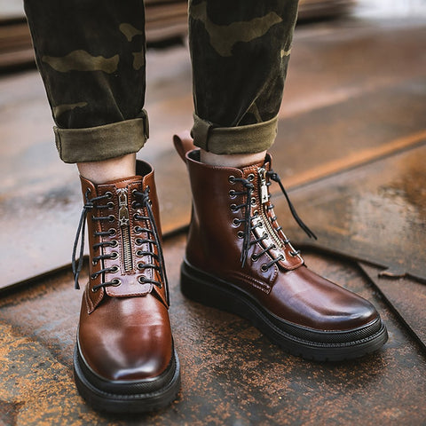 British Retro Leather Boots
