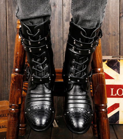 Autumn and winter high-top casual leather boots trend Martin boots