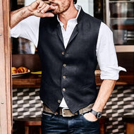 Mens Casual V-neck Single-breasted Vest