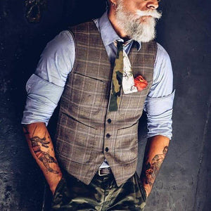 Temperament British Style V-neck Single Row Button Patch Pocket Slim Vest