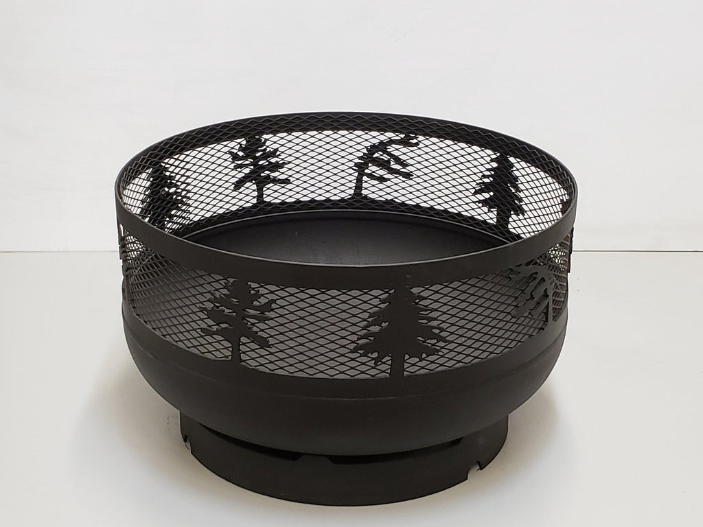 Low Profile Carved Fire Pit - Windswept Pine Trees - Muskoka Fire Pits