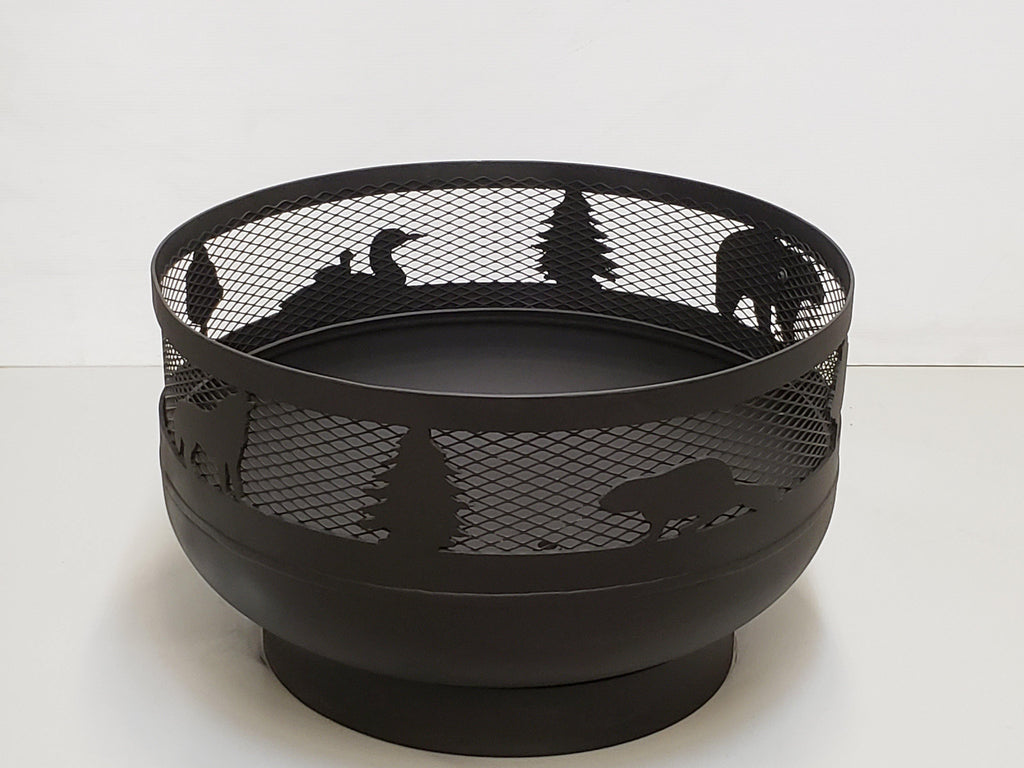 Low Profile Carved Fire Pit - Wild Life - Muskoka Fire Pits