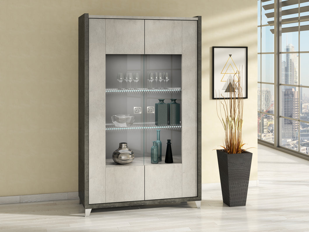 Hilton Italian High Gloss 2 Door Display Cabinet with LED Light