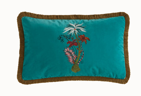Emma Shipley Jungle Palms Boudoir Velvet Bolster Cushion