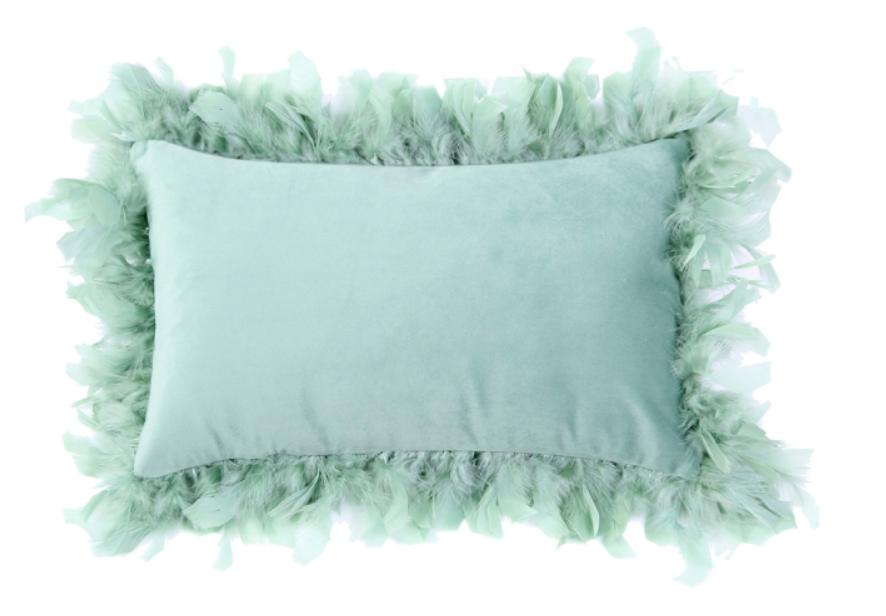 Mint Green Feather Edge Oblong Cushion