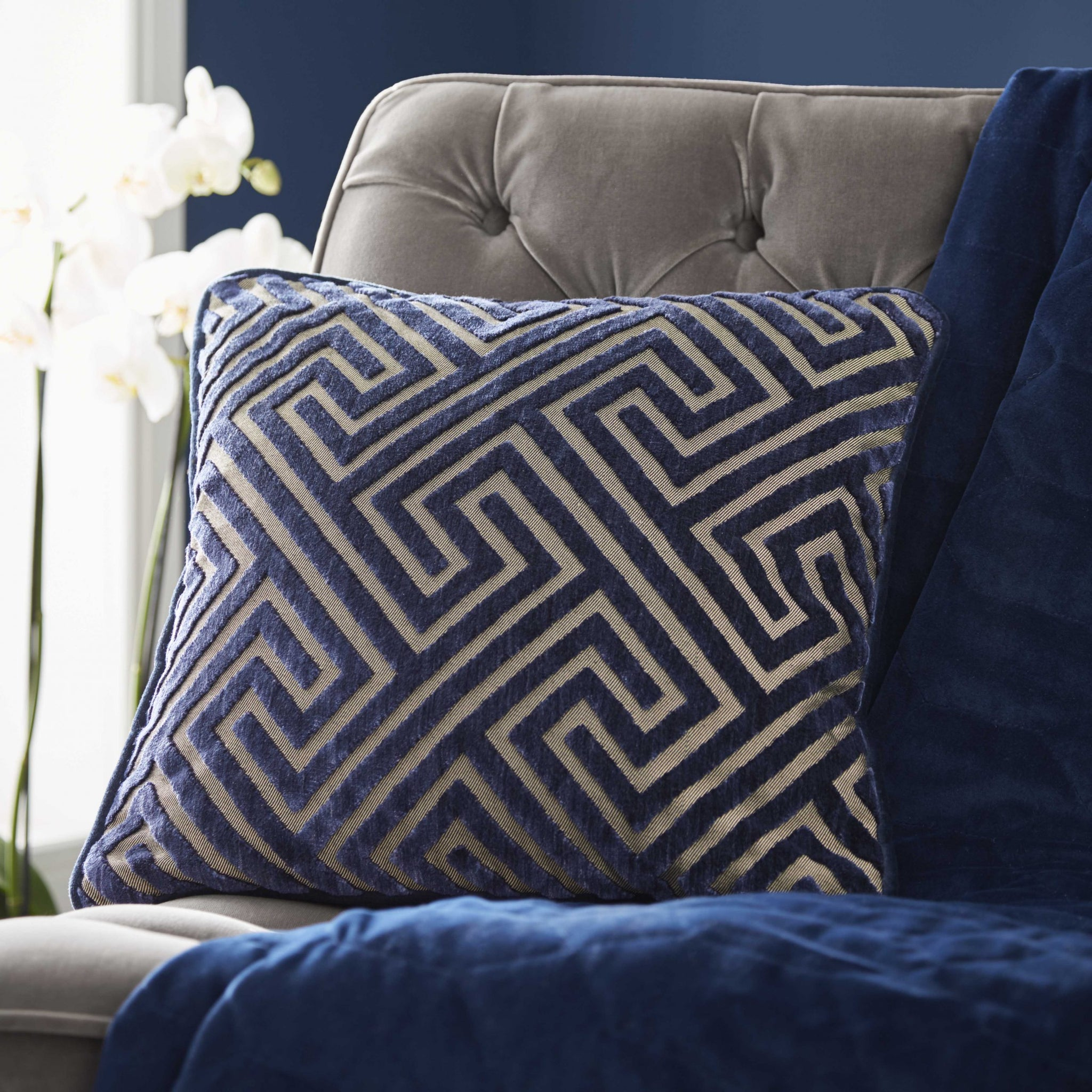 Greek Key Midnight Cushion 43x43cm
