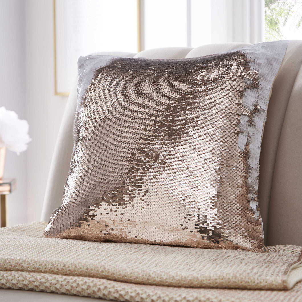 Sequin Rose Gold Cushion 43x43cm