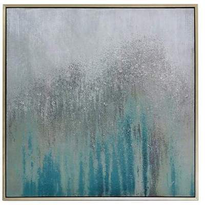 Medium Mint Green & Silver Abstract Canvas Wall Art with Gold Frame