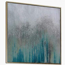 Load image into Gallery viewer, Medium Mint Green & Silver Abstract Canvas Wall Art with Gold Frame