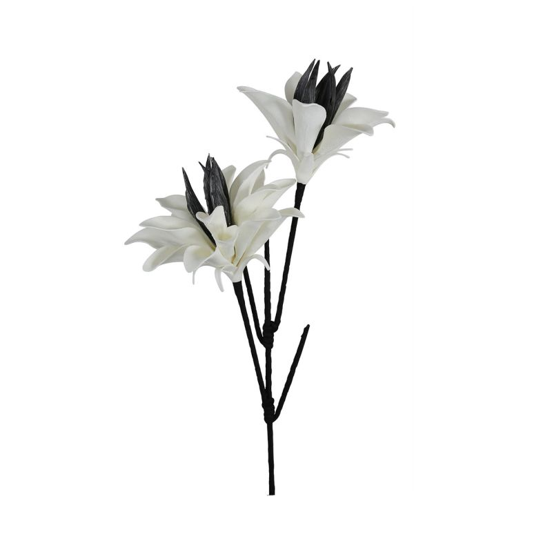 White Foam Double Black Stem Gladiola Leaves Flower 120cm