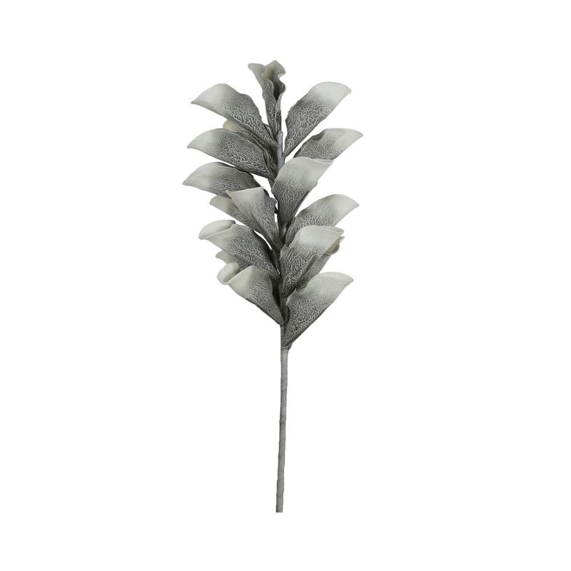 Grey Foam Single Grey Stem Leafy Spray Flower 103cm
