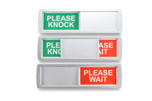 "Laden Sie das Bild in den Galerie-Viewer, ""PLEASE KNOCK/PLEASE WAIT"" Schiebeschild Classic XL"