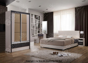 2 Tone Black & White Modern Contemporary Bedroom Set (4X6Ft) - Sa9917Brs