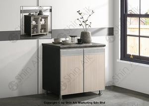 Ash & Grey Two-Tone Modular Kitchen Double Gas Cabinet (3Ft) - Sa3318-226