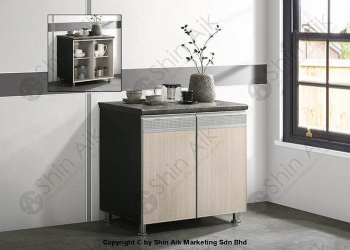 Ash & Grey Two-Tone Modular Kitchen Double Gas Cabinet (3'ft) - SA3318-226