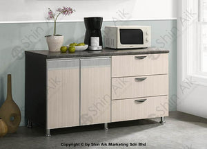 Ash & Grey Two-Tone Modular Low Kitchen Cabinet (5Ft) - Sa3318-221