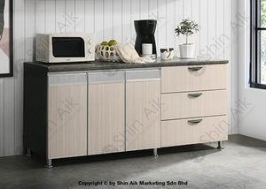 Ash & Grey Two-Tone Modular Low Kitchen Cabinet (6Ft) - Sa3318-222