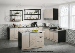 Ash & Grey Two-Tone Modular Lowered Kitchen Stove Cabinet (3Ft) - Sa3318-227