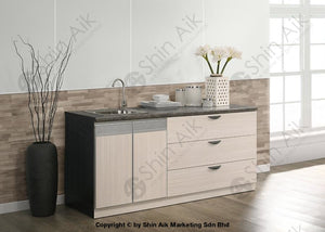 Ash & Grey Two-Tone Modular Sink Faucet Low Kitchen Cabinet (6Ft) - Sa3318-229