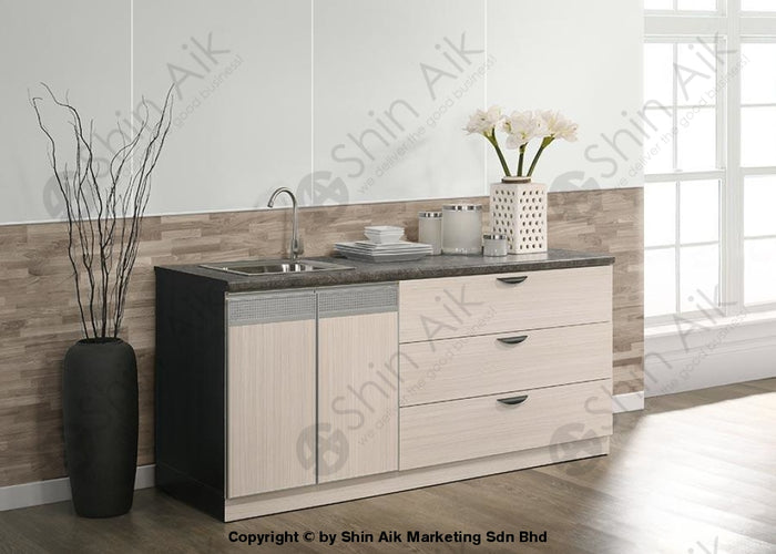 Ash & Grey Two-Tone Modular Sink & Faucet Low Kitchen Cabinet (6'ft) - SA3318-229
