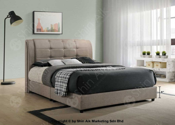 "Beige PU Buttons Double Layer Tufted Double Divan Bed (9""HB) - SADB58533"
