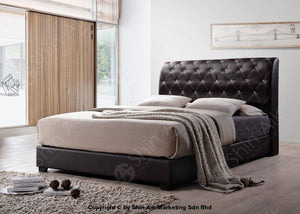 Black Pu Diamond Buttons Tufted Double Divan Bed (8Hb) - Sadb58503Bk Bedroom