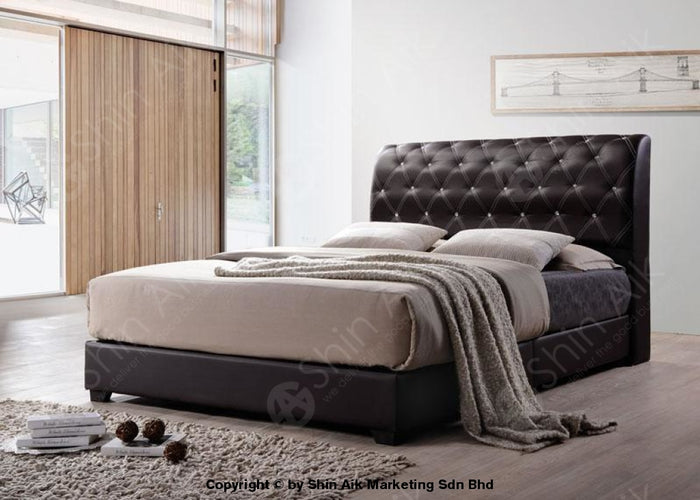 "Black PU Diamond Buttons Tufted Double Divan Bed (8""HB) - SADB58503BK"