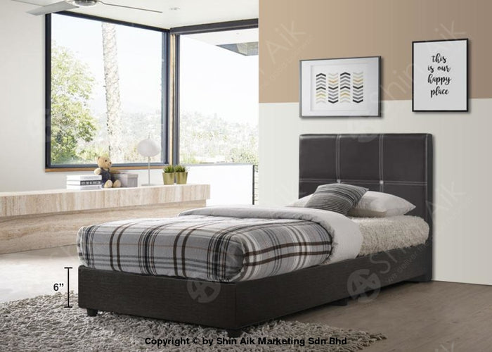 "Black PU Diamond Buttons Tufted Single Divan Bed (5""HB) - SADB55-3BK"