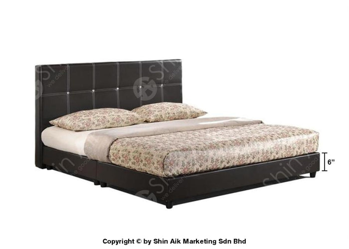 "Black PU Diamond Decor Tufted Double Divan Bed (5""HB) - SADB55BK"