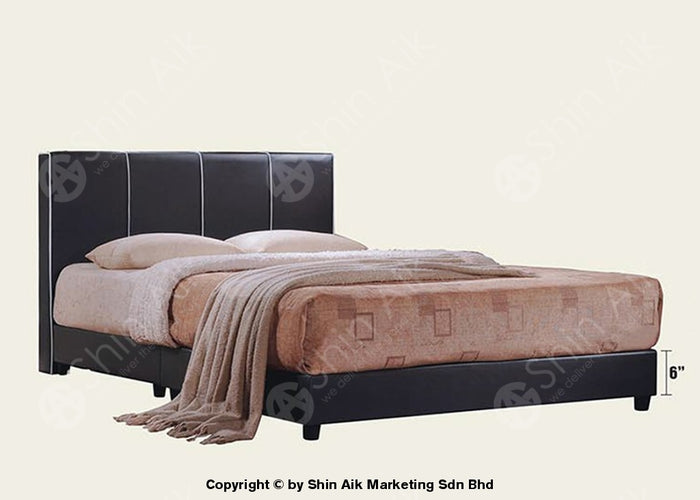 "Black PU Modern Double Divan Bed (5""HB) - SADB58512"