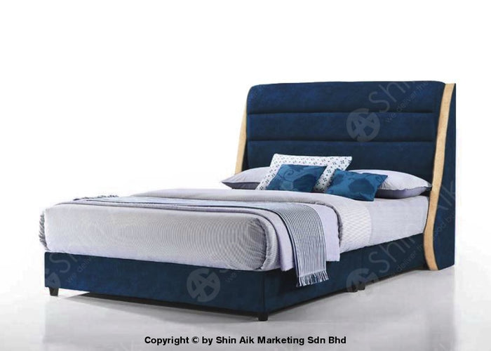 "Blue Velvet Fabric Channel Tufted Wing Double Divan Bed (6""HB) - SADB58562BL"