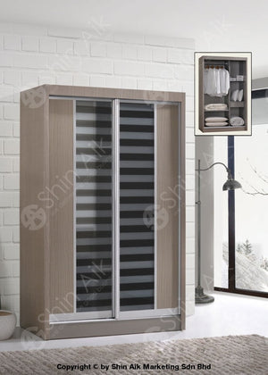 Clay Pine Modern Sliding Door Wardrobe (4X6Ft) - Sa9028-18Wr Bedroom