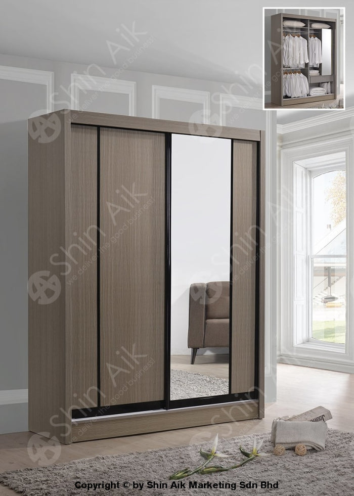 Clay Pine Modern Sliding Door Wardrobe (5'x6'ft) - SA9525-27WR
