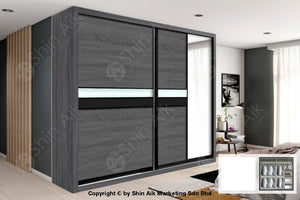 Dark Oak Modern Sliding Door Wardrobe (8X8Ft) - Sawr917002+7003 Bedroom