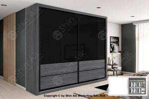 Dark Oak Modern Sliding Door Wardrobe (8X8Ft) - Sawr917002+7005 Bedroom