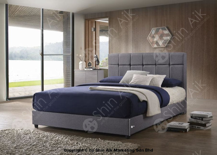 "Grey Fabric Buttons Tufted Double Divan Bed (6""HB) - SADB58538"