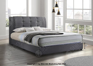Grey Fabric Buttons Double Layer Tufted Divan Bed (9Hb) - Sadb58553 Bedroom