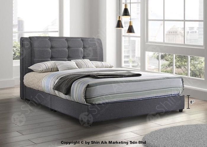 "Grey Fabric Buttons Double Layer Tufted Double Divan Bed (9""HB) - SADB58553"