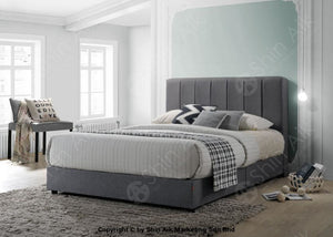 Grey Fabric Channel Tufted Double Divan Bed (6Hb) - Sadb58536 Bedroom