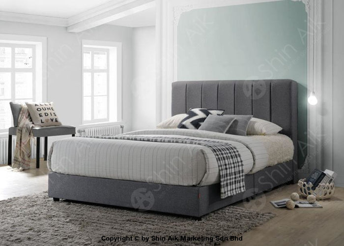 "Grey Fabric Channel Tufted Double Divan Bed (6""HB) - SADB58536"