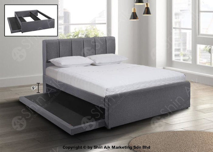 "Grey Fabric Channel Tufted Double Divan Bed (6""HB) with Pull Out Bed- SADB58536-PB"