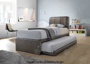 Grey Pu Double Layer Tufted Single Divan Bed (8Hb) - Sasb3301 Bedroom