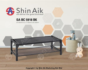 Industrial Style Black Metal Bench (2 Seater) - Sabc5918Bk Entryway