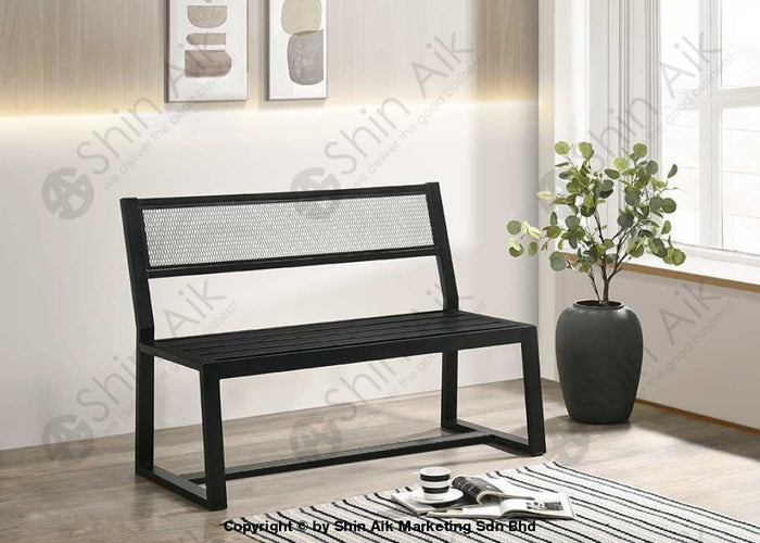 Industrial Style Black Metal Bench (2 Seater) - SABC5957