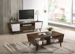 Mid-Century Modern 2 Tone Tv Cabinet (5Ft) & Coffee Table (Walnut White) - Sa1632Tv&ct Set Living