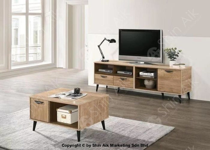Natural Oak & Walnut Two-Tone Mid-Century TV Cabinet (6'ft) & Coffee Table - SA1660TV&CT