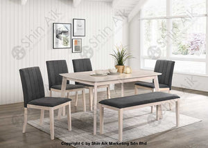 Mid-Century Modern Grey Fabric Cushion Whitewash Wooden Dining Set (6Pax) - Sadc2213 1+6 Room