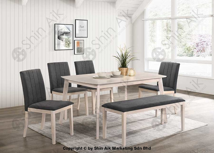 Mid-Century Wooden & Fabric Upholstered Dining Set (6pax) Whitewash & Grey - SADC2213