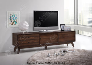 Mid-Century Modern Tv Cabinet (6Ft) & Coffee Table (Walnut) - Sa1666Tv&ct Living Room